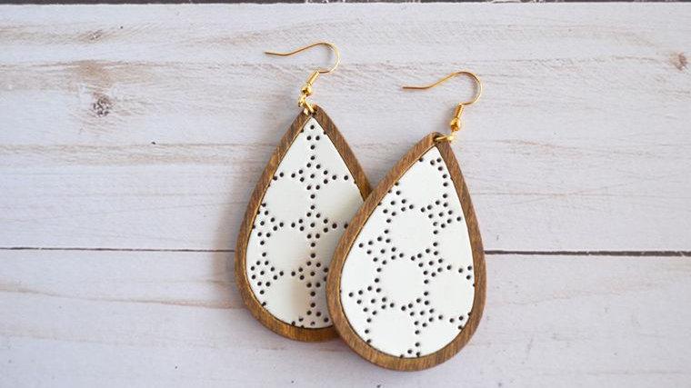 White Leather & Wood Teardrop Earrings