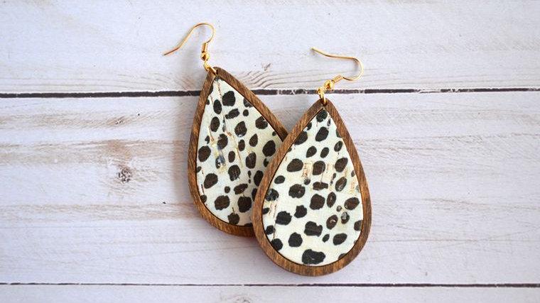 Spotted Leather & Wood Teardrop Earrings