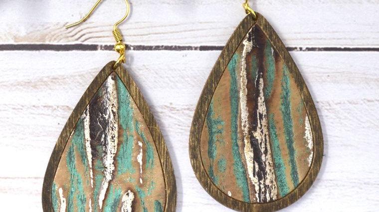 Beachwood Striped Leather & Wood Teardrop Earrings