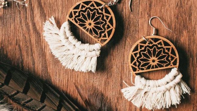 Boho Macrame Mandala Dangle Earrings