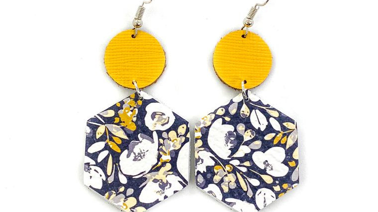 Navy & Mustard Flower Leather Earrings