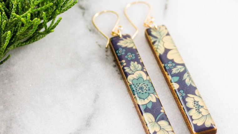 Blue + Cream Vintage Floral Bar Earrings