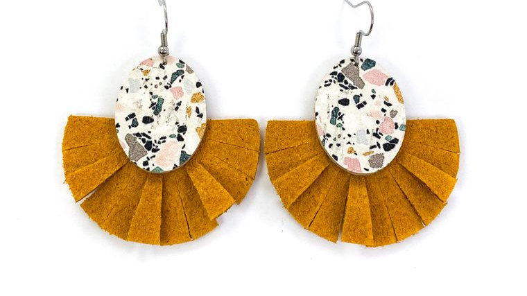 Teal & Mustard Marble with Leather Fringe Earrings