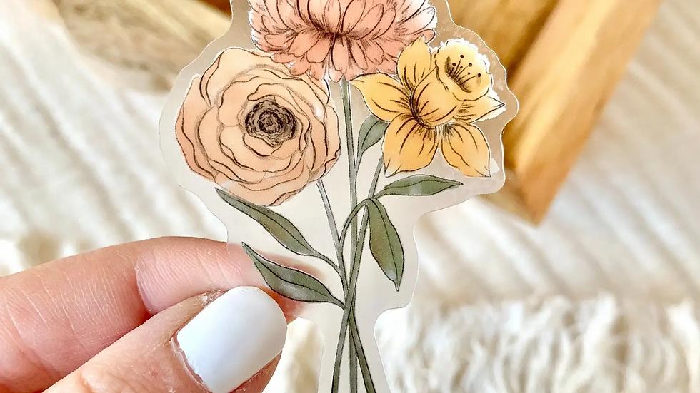 Clear Daffodil & Chrysanthemum Sticker