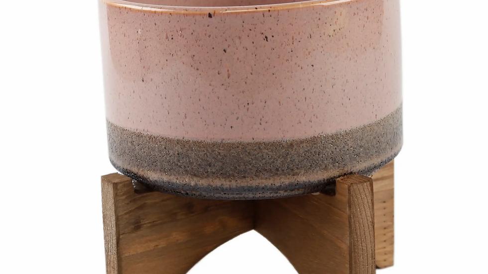 Lava Ceramic On Wood Stand, Blush