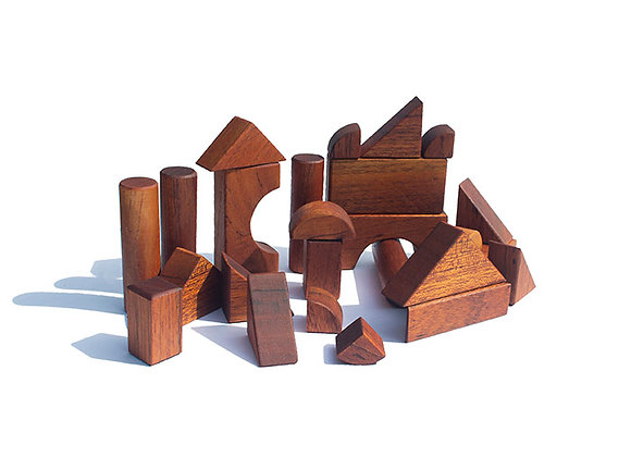 Natural Wood Building Blocks For Children