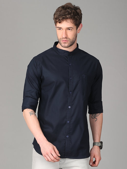 Hades Dark Navy Mandarin Collar Shirt