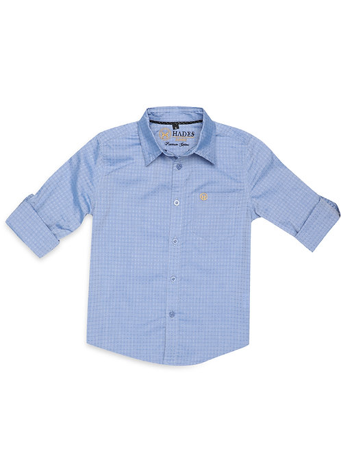 Junior Cornflower Blue Dobby Shirt