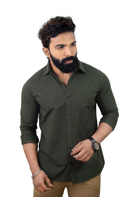 Hades Olive Seaweed Green Poplin Shirt