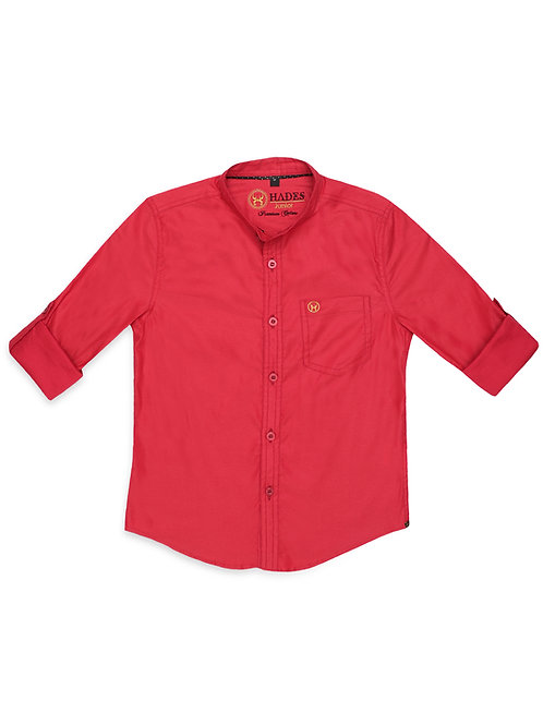 Junior Crimson Poplin Shirt