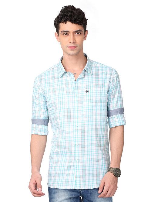 Hades Light Blue and White Tartan Plaid Shirt