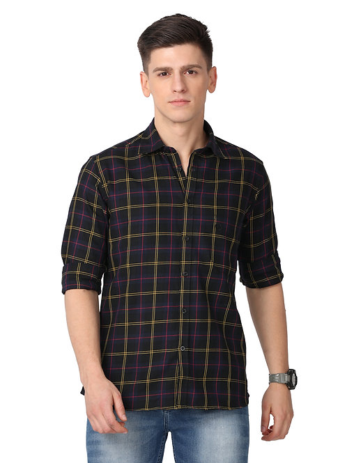 Hades Black Tartan Plaid Shirt