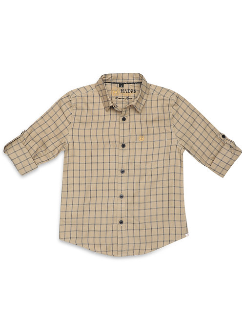 Junior Beige Graph Check Shirt