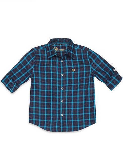 Junior Navy Tartan Plaid Shirt
