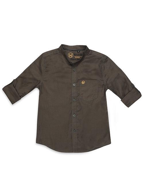 Junior Dark Mocha Pinpoint Oxford Shirt