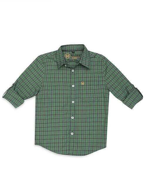 Junior Forest Green Plaid Shirt