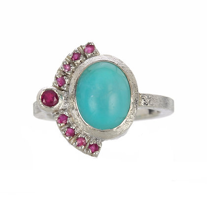 Amazonite and Ruby Sterling Silver Ring