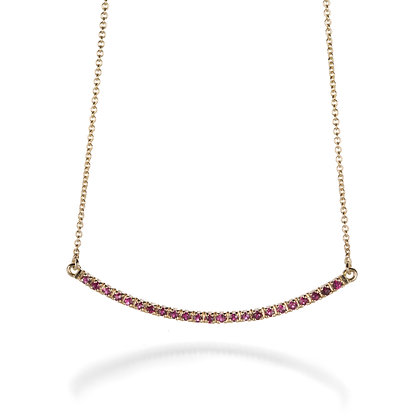 Ruby Bar 14K Yellow Gold Necklace