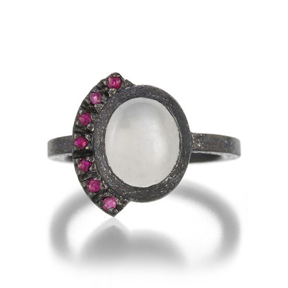Ruby and White Moonstone Oxidized Sterling Silver Ring