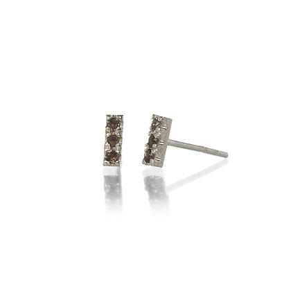Smoky Quartz and Sterling Silver 3-Stone Stud Earrings