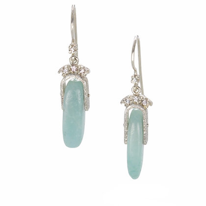 Amazonite and White Sapphire Silver Earrings