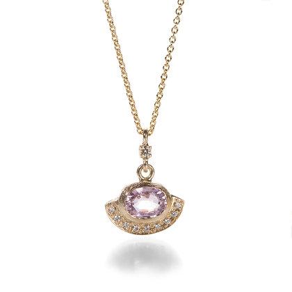 Pink Sapphire Diamond Fan Halo.