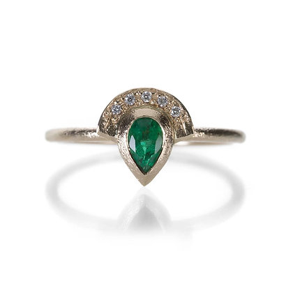 Emerald Half Halo Ring