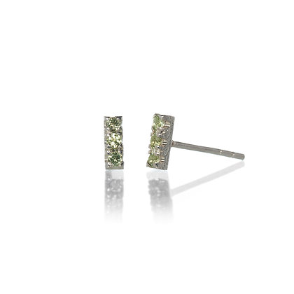 Peridot and Sterling Silver 3-Stone Stud Earrings