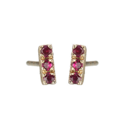 Ruby and 14K Gold 3-Stone Stud Earrings