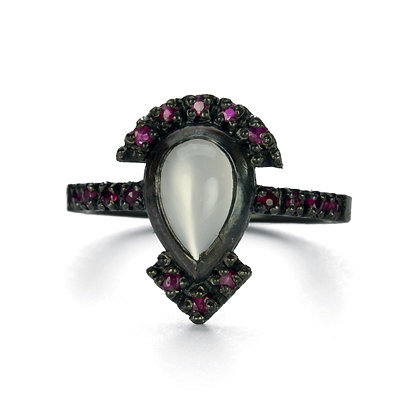 White Moonstone and Ruby Oxidized Sterling Silver Ring
