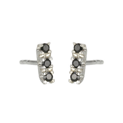 Black Spinel and Sterling Silver 3-Stone Stud Earrings