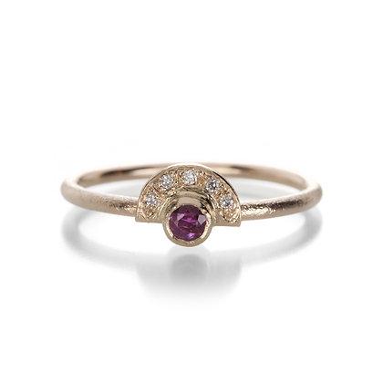 Ruby Mini Half Halo Ring