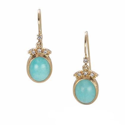 Amazonite and Diamond 14K Gold Earrings