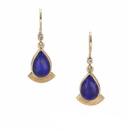 Lapis Lazuli and Diamond 14K Gold Earrings