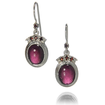 Oval Garnet Crown Earrings