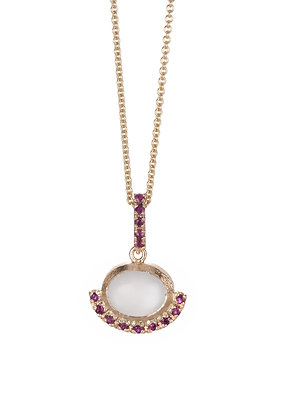Oval Moonstone and Ruby 14K Yellow Gold Necklace
