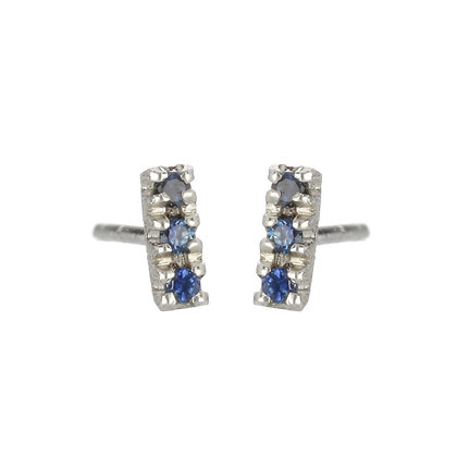Blue Sapphire and Sterling Silver 3-Stone Stud Earrings