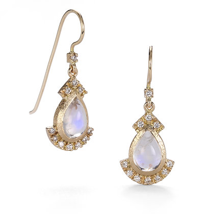 Rainbow Moonstone and Diamond 14K Gold Earrings