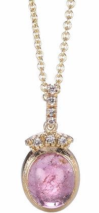 Pink Tourmaline and Diamond 14K Gold Pendant Necklace