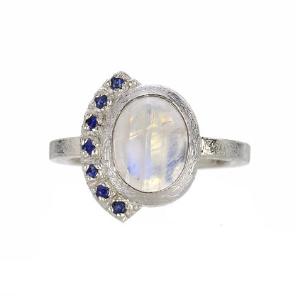 Blue Sapphire and Rainbow Moonstone Sterling Silver Ring