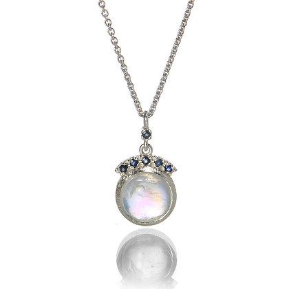 Round Rainbow Moonstone Sapphire Crown Pendant