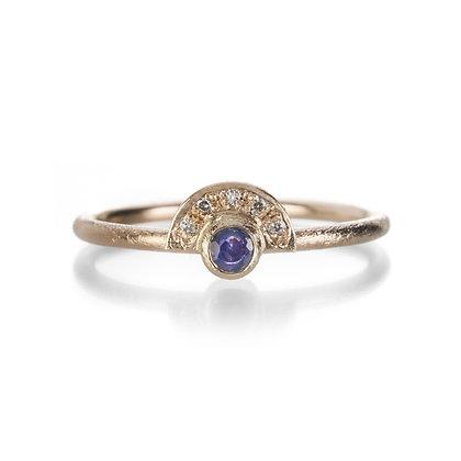 Sapphire Mini Half Halo Ring