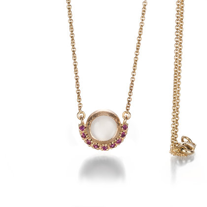 Ruby Moonstone Gold Necklace