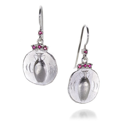 Amphora Earrings with Ruby Crown