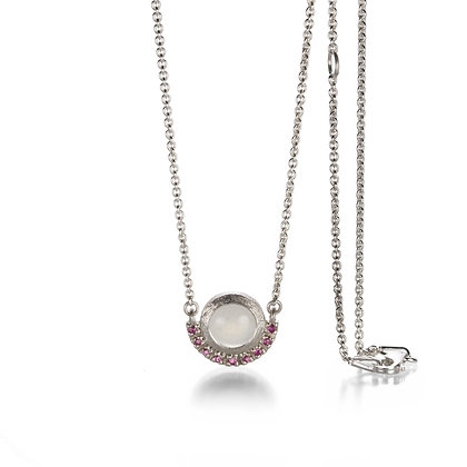 White Moonstone and Ruby Oxidized Silver Pendant