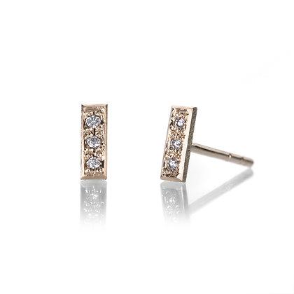 Mini Pave Diamond Bar Stud