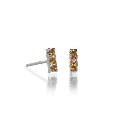 Citrine and Sterling Silver 3-Stone Stud Earrings