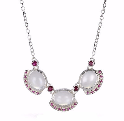 3 Stone White Moonstone and Ruby Sterling Silver Necklace