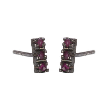 Ruby and Oxidized Sterling Silver 3-Stone Stud Earrings