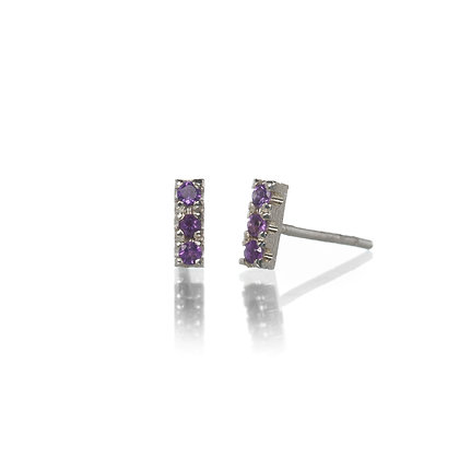 Amethyst and Sterling Silver 3-Stone Stud Earrings